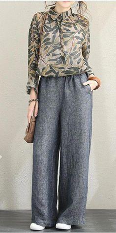 Fashion Casual Linen Wide Leg Pants For Women – Linen Dresses For Women New Fashion Clothes, Fashion Pants, Hijab Fashion, Korean Fashion, Dress Fashion, Fashion Fashion, Fashion Check, Feminine Fashion, Fashion Stores