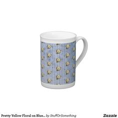 Pretty Yellow Floral on Blue Grunge Stripes Tea Cup