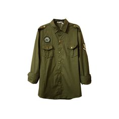Brass Button Medal Army Green Shirt ($45) ❤ liked on Polyvore featuring outerwear, jackets, tops, shirts, women, army green jacket, green jacket, green military jacket, olive jacket and reversible jacket