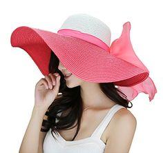 d82f80dd736 Kaisifei Bowknot Casual Straw Women Summer Hats Big Wide ... https