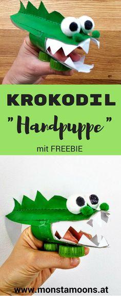 Krokodil Handpuppe, crocodile craft, tube crafts, Basteln mit Klopapierrollen, Klorollen DIY