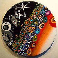 Handmade Wall Clocks, Acrilic Paintings, Dot Art Painting, Hand Painted Shoes, Plate Art, Gustav Klimt, Ceramic Plates, Craft Stick Crafts, Mosaic Art