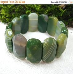 Your BEST GIFT Forest Green Agate bracelet wide bangle gemstone jewelry statement bracelets for women elastic stretch bracelet Nature inspir