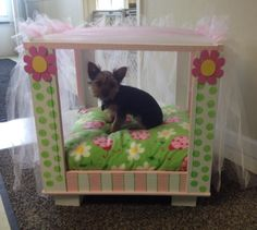 Princess dog bed I made for my local humane society. Doggie Beds, Pet Beds, Princess Dog Bed, Pet Houses, Designer Dog Beds, Dog Furniture, Love Your Pet, Hair Affair, Animal Projects