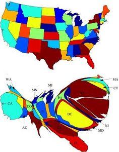 Where news breaks 2008 - from Strange Maps