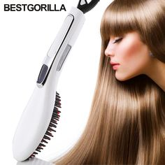 Fast Professional Ceramic Electric Hair Straightener Brush Detangling Hair Straightening Iron Comb Smooth Brush Styling Tools #Affiliate