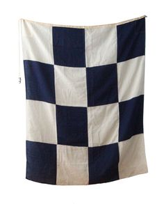 Large Blue and White Check Nautical Flag by foldingchairs