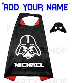 Darth Vader custom cape and mask for kids, Star Wars ADD your child's name,double layer cartoon cosplay, superhero capes... Custom Capes, Custom Shirts, Darth Vader Cape, Felt Mask, Superhero Capes, Star Wars Kids, Capes For Women, Super Party, Super Hero Costumes