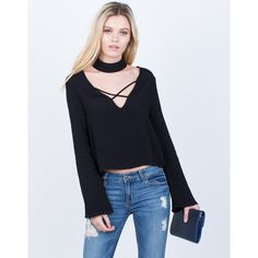 Choker Cropped Blouse ($34) ❤ liked on Polyvore featuring tops, blouses, plunge crop top, criss-cross crop tops, rayon blouses, criss cross crop top and bell sleeve tops