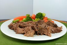 Slow Cooker Balsamic Beef - virtually no prep and the meat will fall apart when finished! Only 227 calories or 6 Weight Watchers SmartPoints per serving.