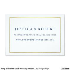 Navy Blue with Gold Wedding Website Insert Card