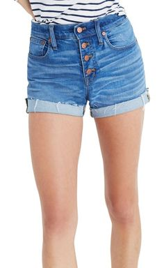 high rise denim boyshorts by Madewell. Ragged cutoff hems are made to roll up in these retro-inspired denim shorts crafted with a gleaming exposed-button fl...