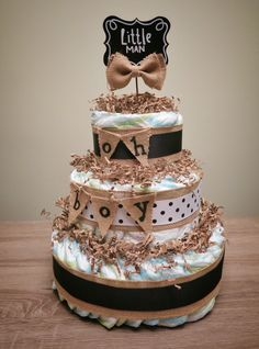 Baby Shower Diaper Cake: It's A Boy! Oh Boy! Little Man! Chalkboard, Burlap, and Bow ties!