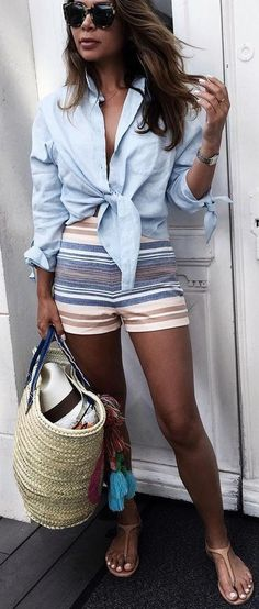#summer #trending #outfits   Tied Up Blue Shirt + Multi Stripe Shorts