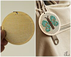 Another wooden pendant that I cross stitched. Cross Stitching, Cross Stitch Embroidery, Folk Embroidery, Bordados E Cia, Wood Crosses, Modern Cross Stitch Patterns, Shibori, Design Crafts, Home Design