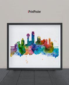 Dallas skyline Art Print Dallas Watercolor Dallas by iPrintPoster