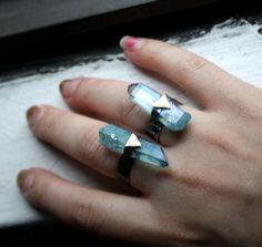 The Future Ring- Aqua Aura crystal in Handmade Sterling Silver . RachelPfefferDesigns