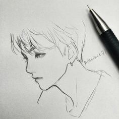 New Art Sketchbook Ideas Pencil Drawings Of Ideas Kpop Drawings, Pencil Art Drawings, Manga Drawing, Drawing Sketches, Sketch Art, Boy Sketch, Drawing Ideas, Bts Art, Fanart Bts
