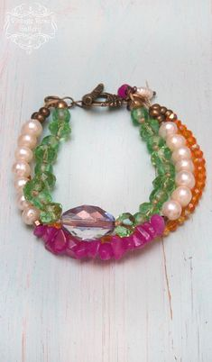 Your place to buy and sell all things handmade Summer Accessories, Jewelry Accessories, Beaded Necklace, Beaded Bracelets, Pink Agate, Boho Chic, Bohemian Style, Butterfly Earrings, Colorful Bracelets