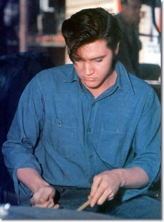 Elvis Playing With D.J. Fontana's Drums On The Set Of Loving You