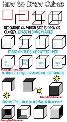 How to Draw a Cube (Shading & Drawing Cubes and Boxes from Different Angles) - How to Draw Step by Step Drawing Tutorials - Architecture Ideas Drawing Techniques, Drawing Tips, Drawing Tutorials, Learn Drawing, Basic Drawing, Drawing Ideas, How To Draw Steps, Learn To Draw, Draw Tutorial
