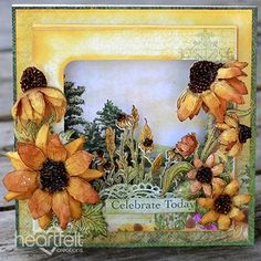 Field of Blossoms Shadowbox Card - Pin this for later! Adding a shadowbox to your card front is a wonderful way of adding interest to your papercraft creations! This card has been created using a preprinted card panel added to the inside of the shadowbox and then for a touch of dimension, die cut florals along with an intricate lace like embellishment have been added to the inside of the shadowbox! #HeartfeltCreations #shadowbox #uniquecardideas #summer #backyardblossoms #coneflowers…