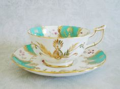 Vintage Teacup and Saucer in Turquoise Blue ~ Gorgeous teacups and saucers   For more info: http://swirlingorange11.etsy.com  and for discounts: contact me directly @ info@swirlingorange.com  #teacups #vintage #antique #collectibles #turquoise #bridal