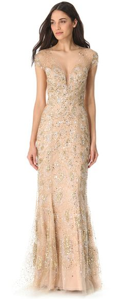 Reem Acra Sequined Tulle Gown in Beige