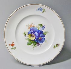 (G965) KPM Berlin Teller um 1870 mit Blumenmalerei, Goldrand, 1.Wahl, D =24,5 cm in Antiquitäten & Kunst, Porzellan & Keramik, Porzellan | eBay!