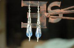 Platinum Plated Filigree Bead Caps Sapphire Blue by MemesShoppe, $20.00