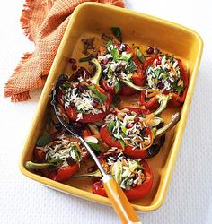 Fruity Rice Stuffed Roast Peppers - get recipe here: http://www.dailymail.co.uk/femail/article-3609422/Chin-chin-Cocktail-Smart-summer-Weight-Watchers-Lose-12lb-six-weeks-enjoying-delicious-summer-food.html