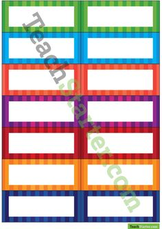 Desk Name Tags – Stripes Teaching Resource Classroom Name Tags, Future Classroom, Cubby Tags, School Stuff, Back To School, Desk Name Tags, Code Names, Page Borders, Name Labels