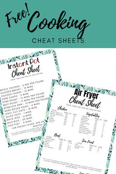 Free Cooking Cheat Sheets Printables - Some of This and That Helpful Hints, Handy Tips, Cheat Sheets, Pressure Cooking, Easy Diy Projects, Cheating, Save Yourself, Free Printables, Instant Pot