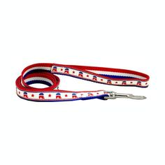 Republican Party Nylon Dog Leash. Show your support this election season with a Republican Party Dog Leash!Metal hardwareFeatures patriotic design on opposite sideFeatures Republican ElephantMade in the U.S.A.Why We Love It:We love the red, white, and blue elephant emblems along the ribbon! The Republican Party Nylon Dog Leash is a nylon leash featuring a sewn-on ribbon emblazoned with the Republican Party's signature symbol. A handloop and sturdy metal clasp make this leash...