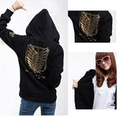 Anime Attack on Titan Shingeki no Kyojin Unisex Cosplay Thick Warm Hoodie Hooded Coat Jacket Tops Black Free Shipping US $29.99