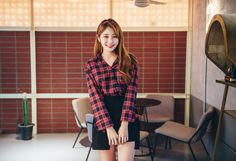 Scarf-Accented Check Button Up Blouse CHLO.D.MANON   #red #checkprint #fallfashion #kstyle #seoul #falltrend #cute #lovely #sweet #koreanfashion