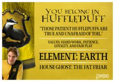 I belong in Hufflepuff. In Quidditch