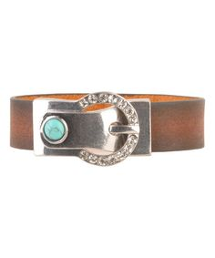 Another great find on #zulily! Silvertone & Brown Leather Buckle Bracelet #zulilyfinds