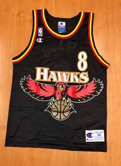 ef90d6a6559 Vintage 1996 - 1998 Steve Smith Atlanta Hawks Champion Jersey Size 36  dominique wilkins dikembe mutombo