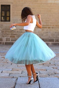 Perfect for an evening cocktail ~ Complete your look with silver accessories matching the color of the summer moon ~ #tutu #skirt #light #blue #color #white #crop #top