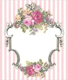 Roses in frame with pink striped background.