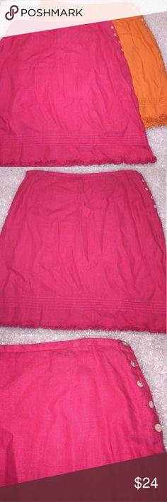 """2 GAP Linen Side Button Skirts Hot Pink & Orange Size 12 100% cotton.  Each skirt is 19.5"""" long.  Orange skirt was worn once washed and laid flat to dry.  Pink is New without tags.  Orange waist measures 15.5"""" across when laid flat and Pink is 16.25"""" across when laid flat. GAP Skirts Midi"""