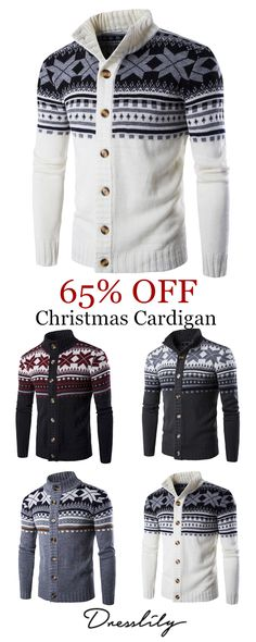79679a602af3b0 Christmas Geometric Snowflake Pattern Knitted Cardigan.  dresslily   christmas  sweaters