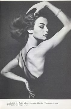 Jean Shrimpton - love how her dark dress disappears into the shadows and the straps create interest