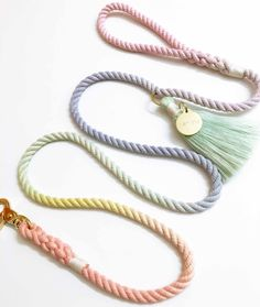 Scoop it up! The Sorbet is inspired by the whimsical pastel buildings that line historic downtown Miami beach. It is hand-dyed and made in the USA using the softest cotton yarns. cotton ropeBrass hardwareLength - 5 ftWidth - i. Rainbow Dog, Rope Dog Leash, Dog Milk, Puppy Supplies, Yorky, Dog Branding, Collar And Leash, Dog Collars, Dog Accessories