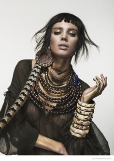 etoystk:Nuria Nieva in Tribal Chic Fashion for Elle Romania by Jesus Alonso