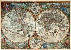 @Neoprusiano Mapamundi (1594) Old World Maps, Old Maps, Antique Maps, Vintage World Maps, Map Vintage, Art Disney, Map Globe, Orbis, Historical Maps