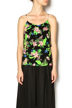 Neon hibiscus floral top with flounce and spaghetti straps. Wear with dark colored skinny jeans and heels for a summer loving' look!   Neon-Floral Flounce Top by Wish Collection. Clothing - Tops - Sleeveless Clothing - Tops - Tees & Tanks North Carolina