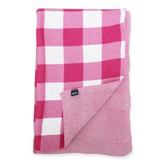 Pink and White Check Throw