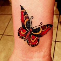 Red And Yellow Butterfly Tattoo Design